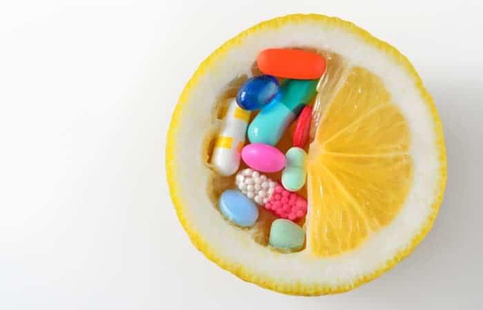 レモンとビタミンCのサプリメント